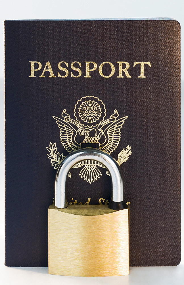 Close up of lock and passport
