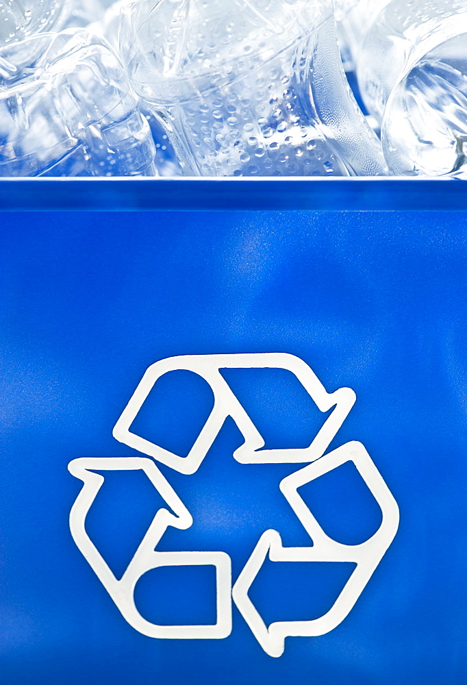 Plastic bottles in recycling bin
