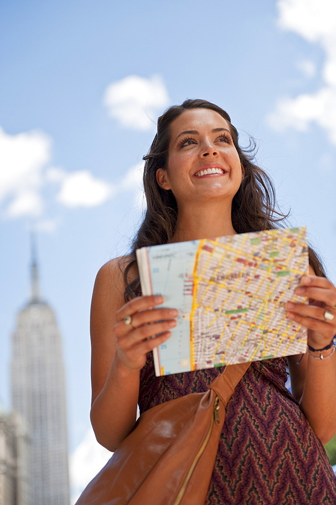 Woman with tourist map