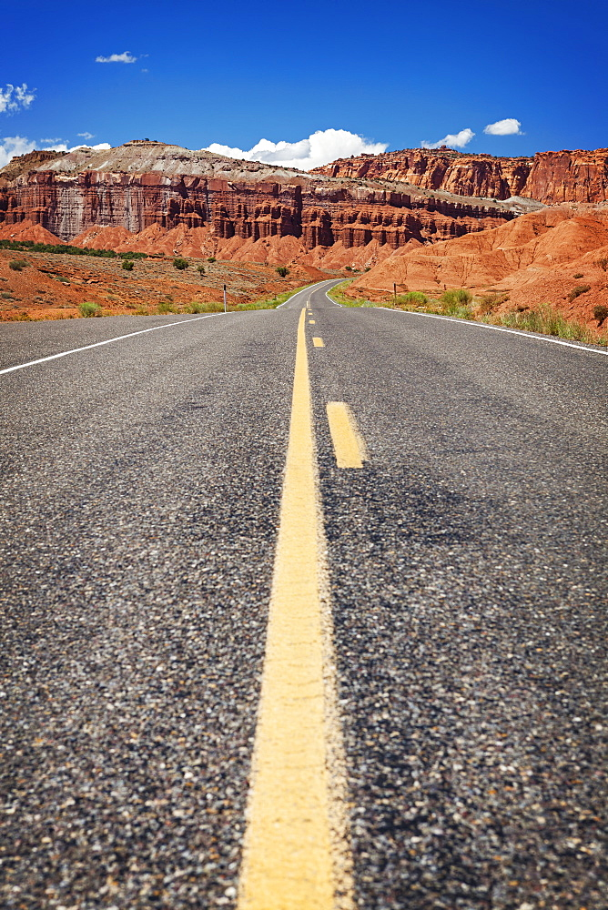 Road going through National park, USA, Utah, Capitol Reef National Park