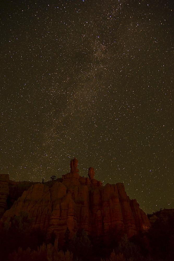 Night sky above rocks, USA, Utah, Bryce Canyon