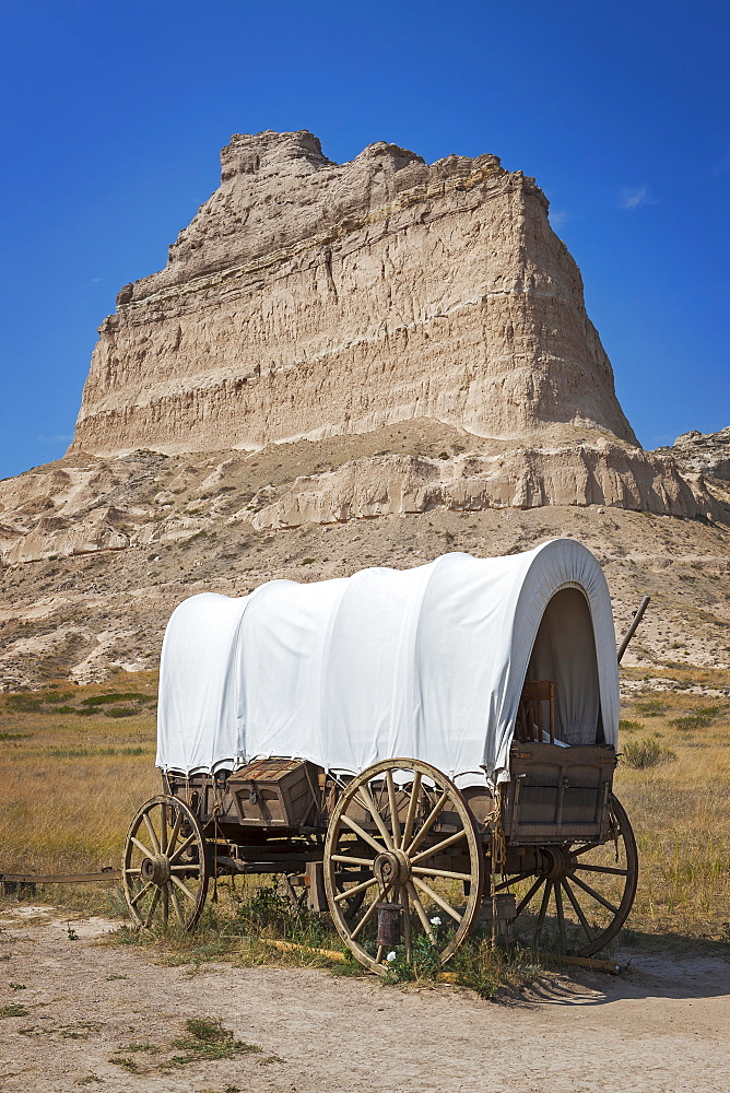 Scott's Bluff National Monument, Pioneer's covered wagon, USA, Nebraska, Scott's Bluff National Monument