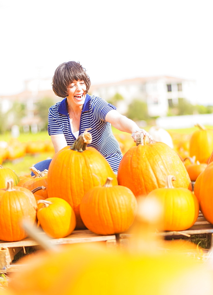 Mature woman picking up pumpkins, Jupiter, Florida
