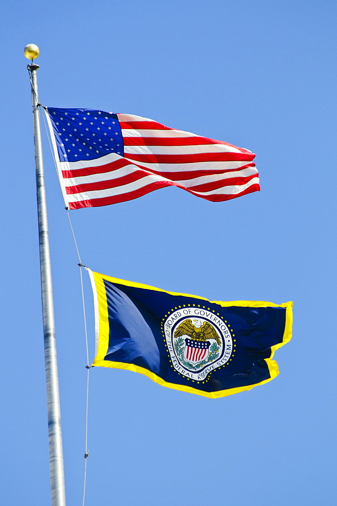 American and federal reserve flag