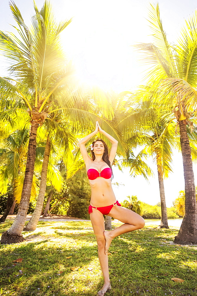 Portrait of young woman wearing bikini standing on one leg under palm trees, Jupiter, Florida