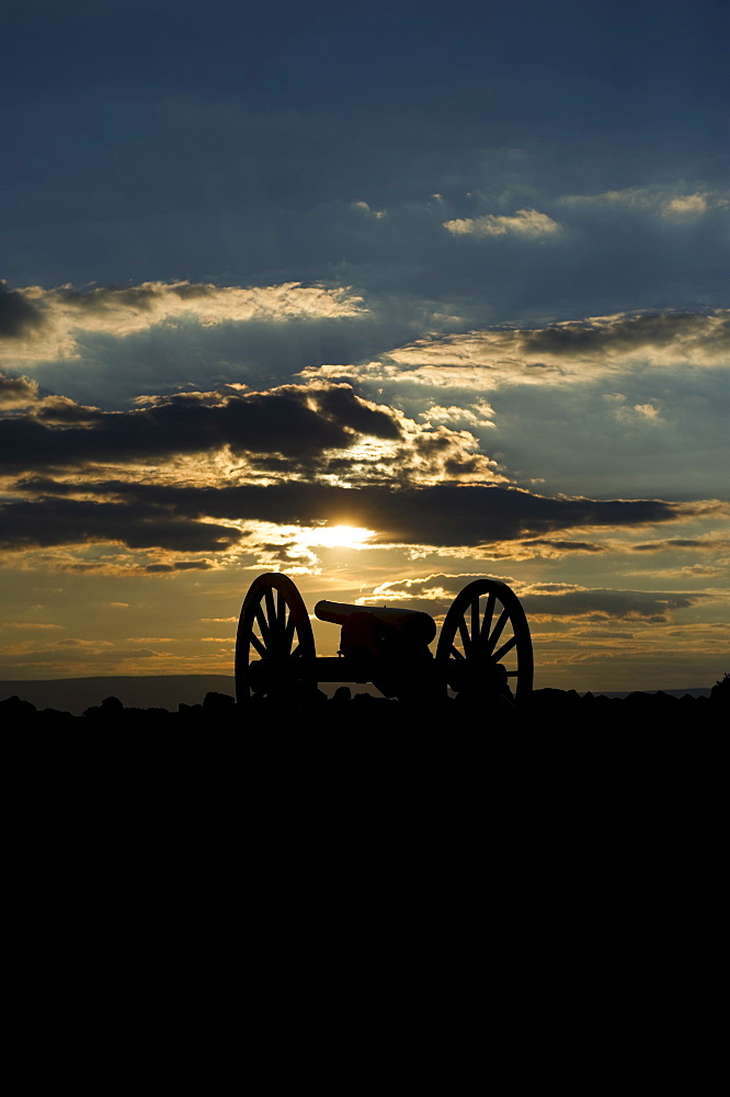 Sunset over civil war cannon