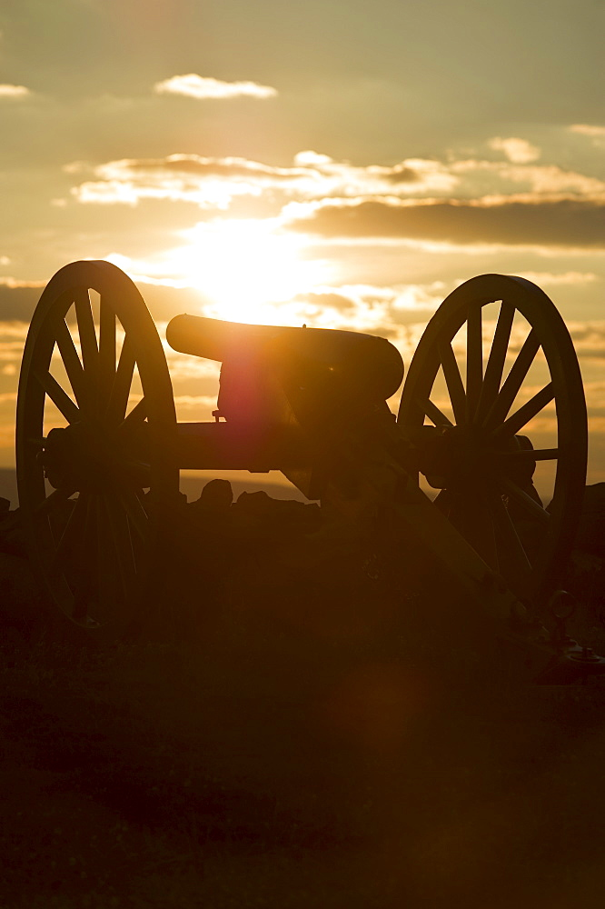 Sunset over civil war cannon