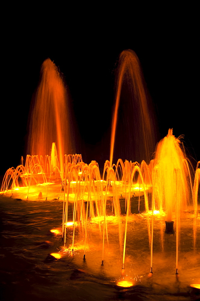 Water fountains at night