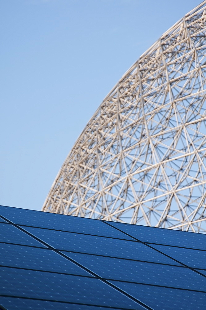 Solar panels and biosphere framing