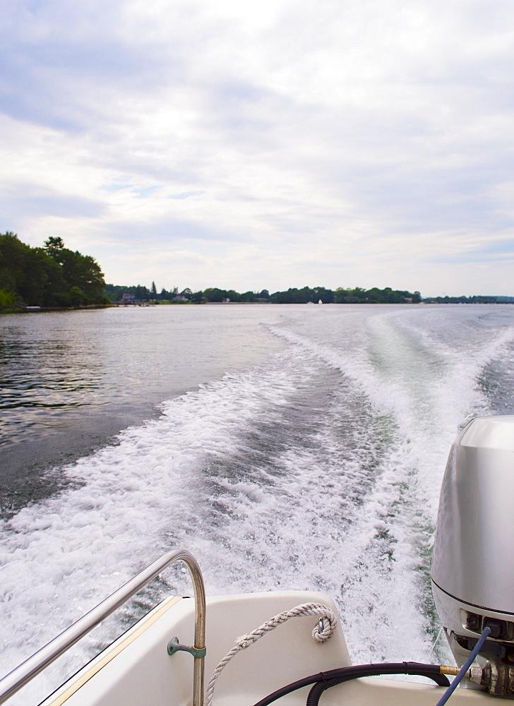 Wake made motorboat, USA, New Hampshire, Portsmouth