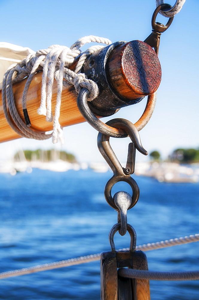 Close-up shot of yacht boom, USA, Maine, Camden