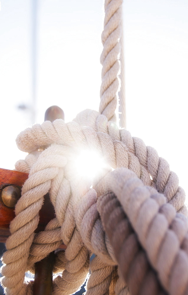 Close-up view of ropes on yacht deck