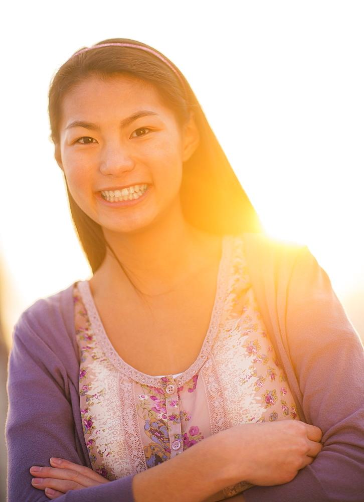 Portrait of smiling teenage girl ( 16-17 years)