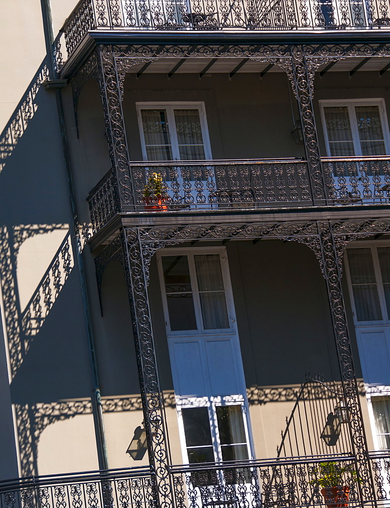 Low angle view of traditional building, USA, Louisiana, New Orleans