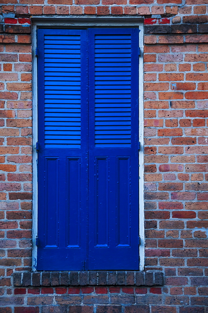 Blue window shutter, closed, USA, Louisiana, New Orleans