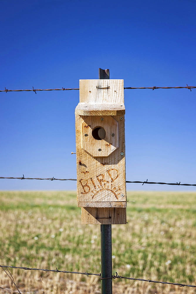 Close-up of wooden birdhouse in field, Wyoming