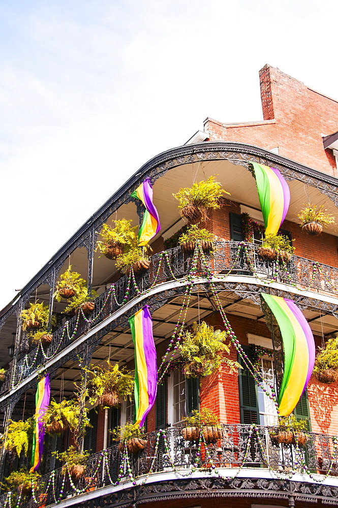 Low angle view of ornate balcony, USA, Louisiana, New Orleans