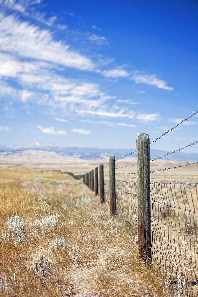Fence in farm, Buffalo, Wyoming