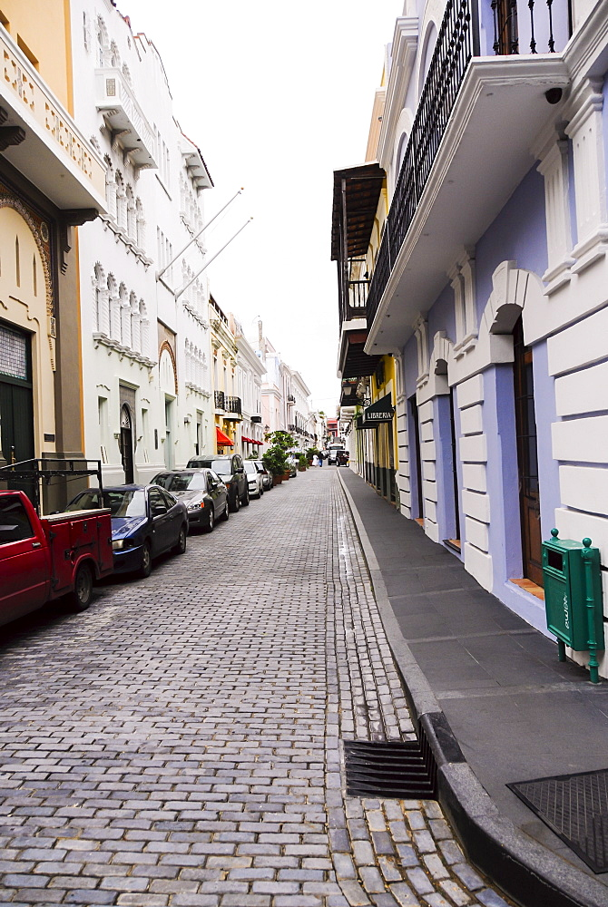 View of street and cars, Old San Juan, Puerto Rico