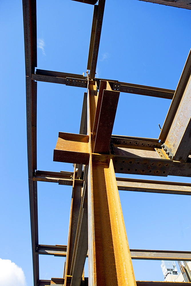 Low angle view of steel girders