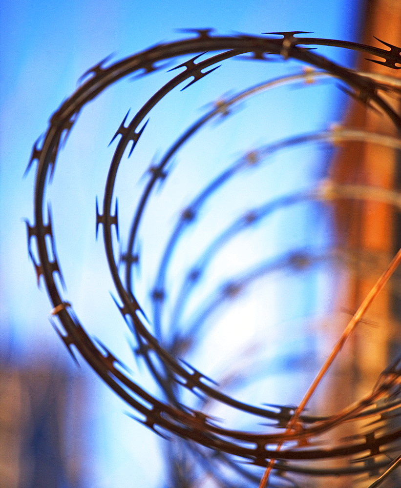 Close up of coiled razor wire
