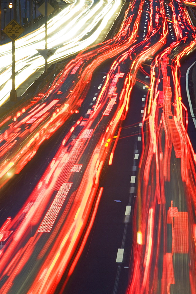 Blurred motion shot of traffic on large highway
