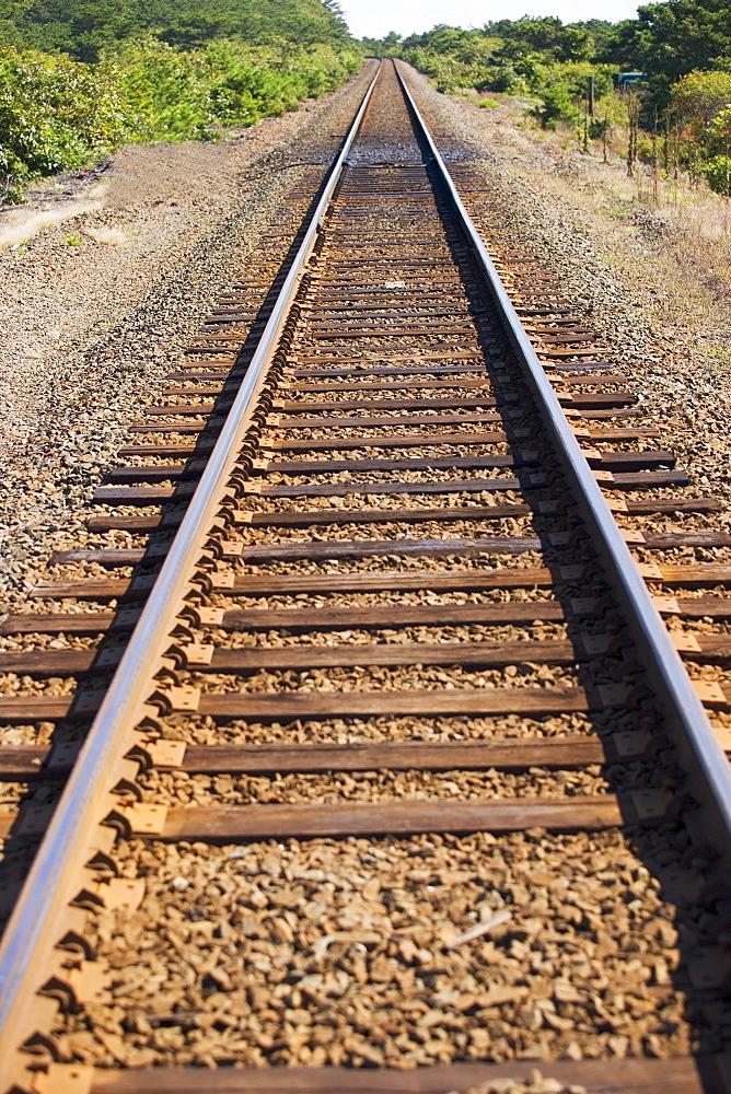 Railroad track in rural area