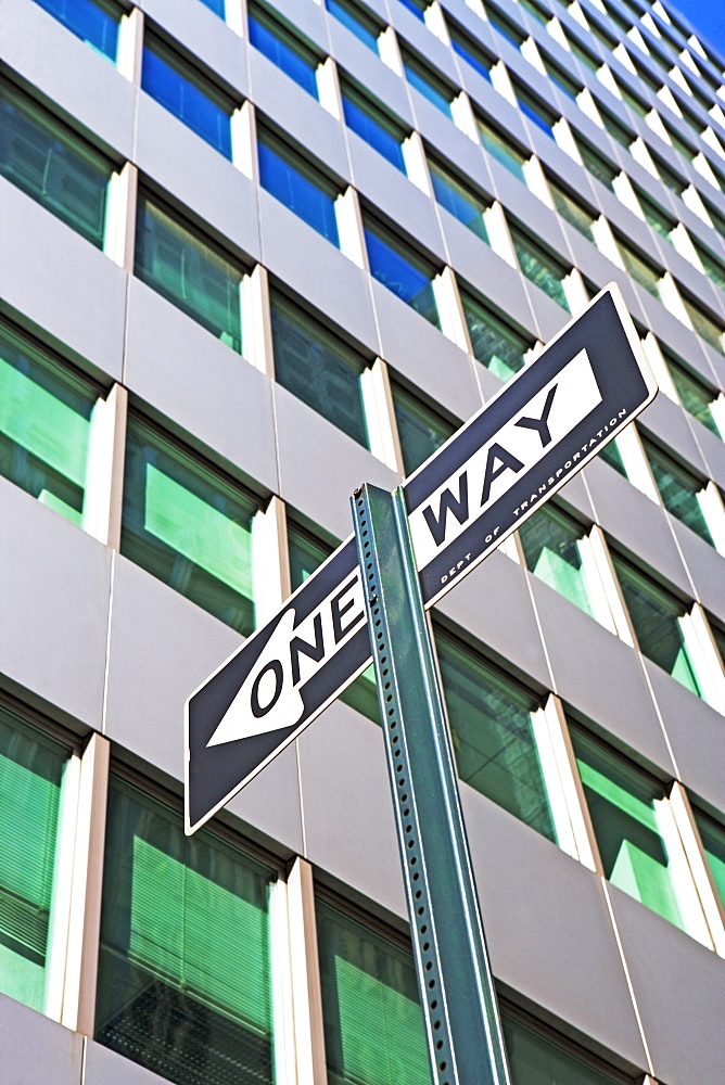 Low angle view of One Way sign