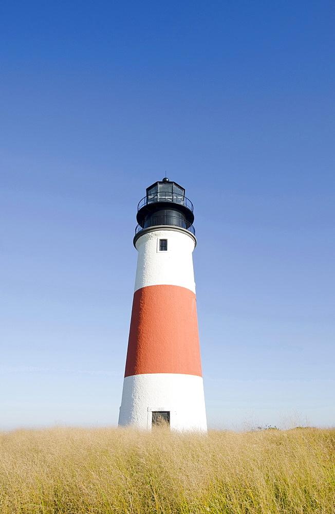Sankaty Head Lighthouse, View of lighthouse, Nantucket, Massachusetts, USA