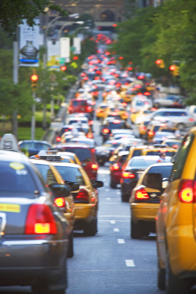 Taxis in rush hour traffic