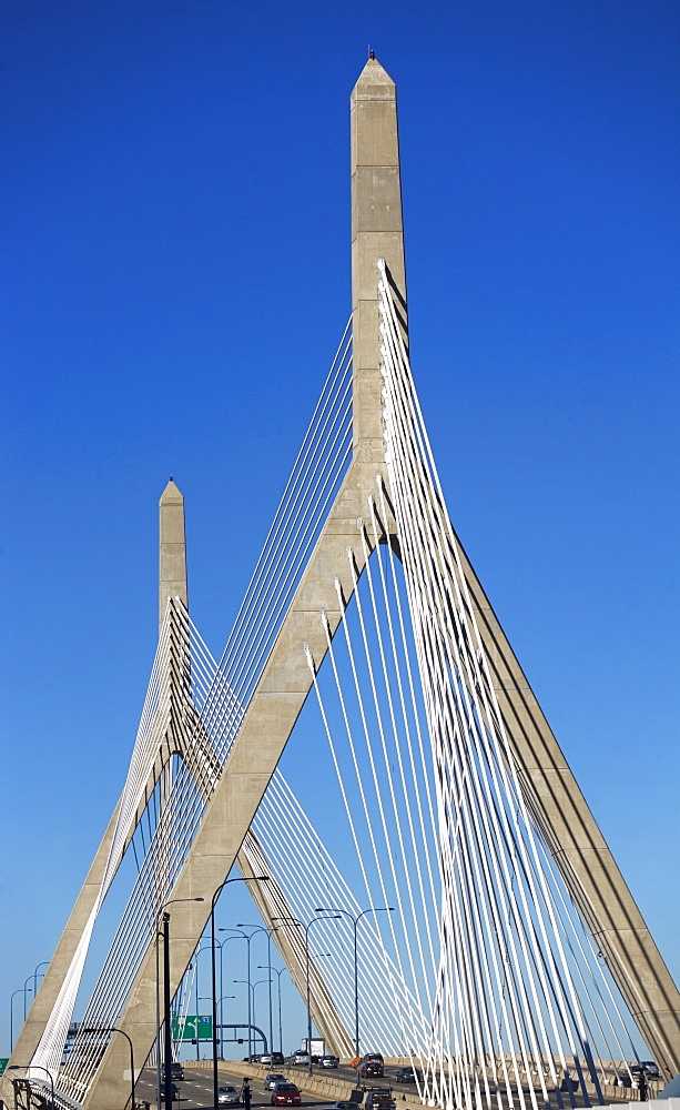 USA, Massachusetts, Boston, Leonard P. Zakim Bunker Hill Memorial Bridge
