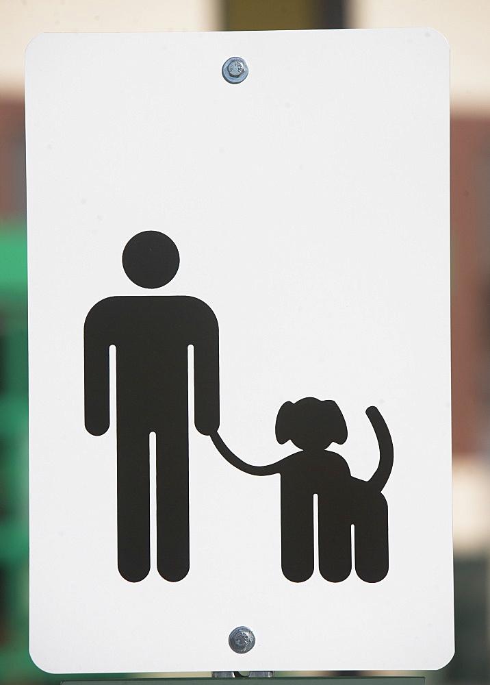 Dog walking sign, Close-up