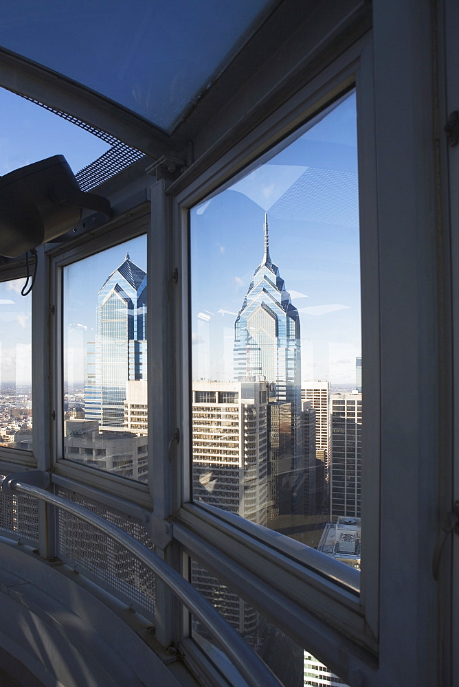 USA, Pennsylvania, Philadelphia, view through window on skyscrapers