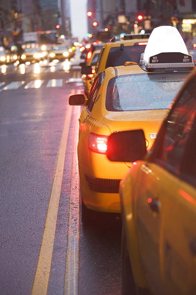 USA, New York state, New York city, taxi cars in traffic jam
