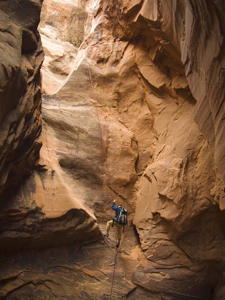 Man canyon rappelling