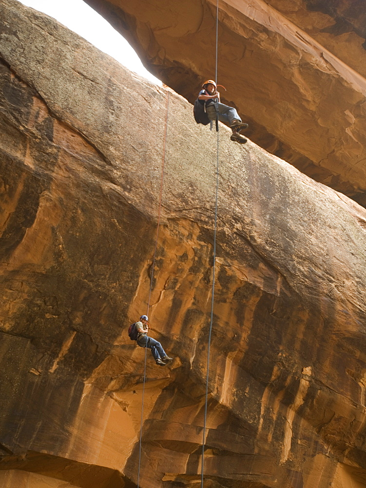 Couple canyon rappelling