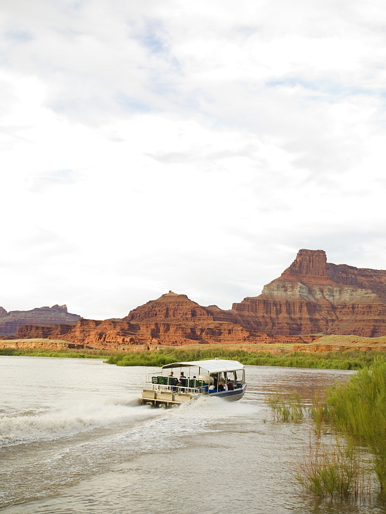 Sightseeing boat on river
