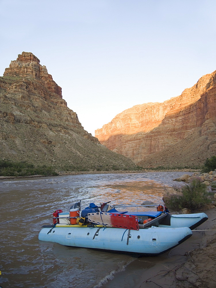 White water raft moored on river's edge, Colorado River, Moab, Utah, United States