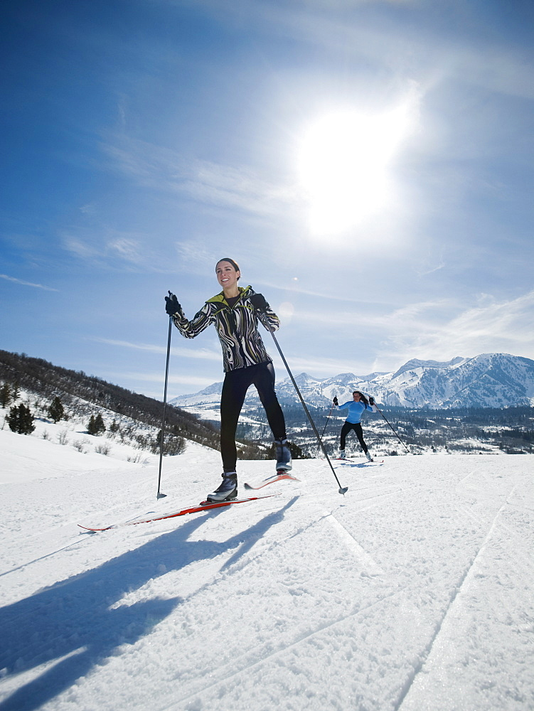 Women cross country skiing