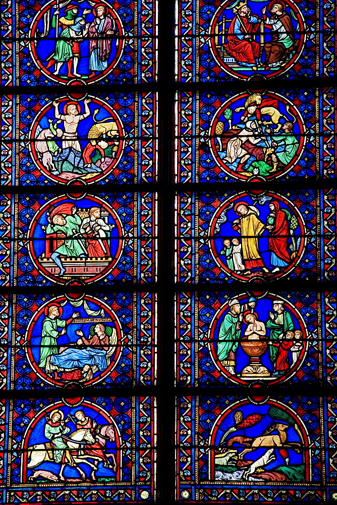 Interior view of stained glass windows