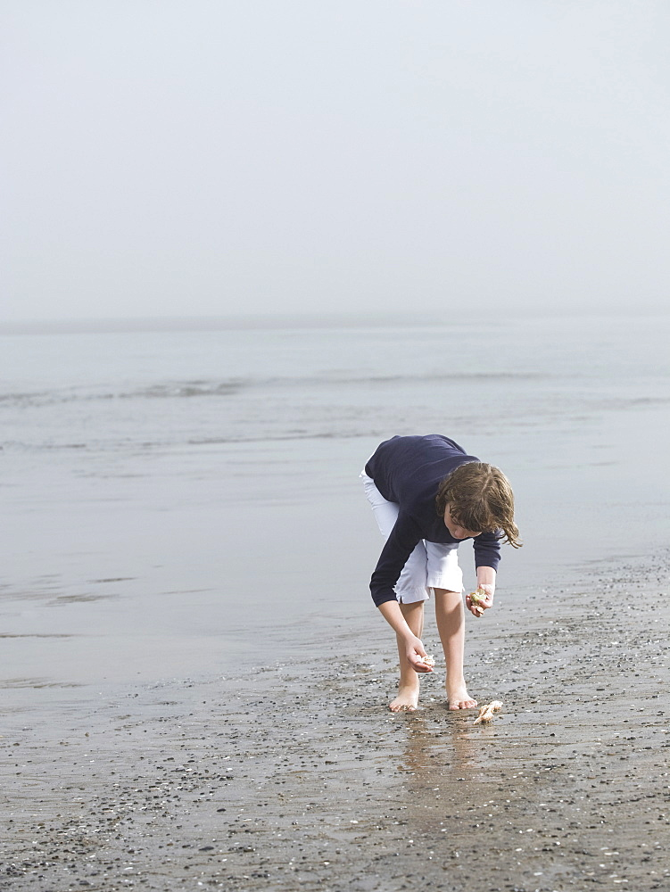 Girl finding seashells on beach
