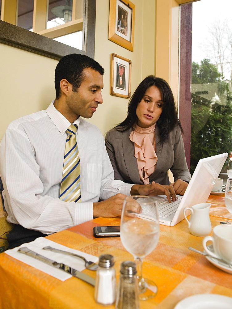 Businesspeople meeting in restaurant