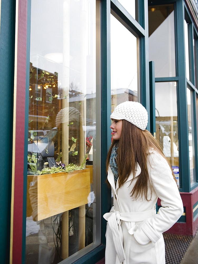 A woman window shopping