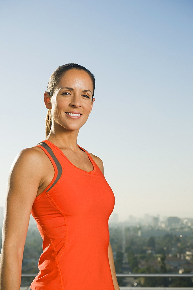 Woman wearing exercise clothing
