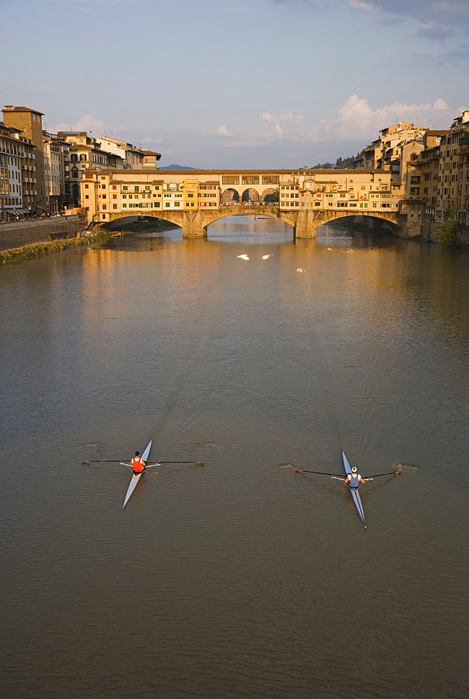 High angle view of people sculling, Ponte Vecchio, Florence, Italy