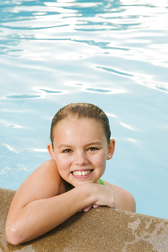 Young girl in pool