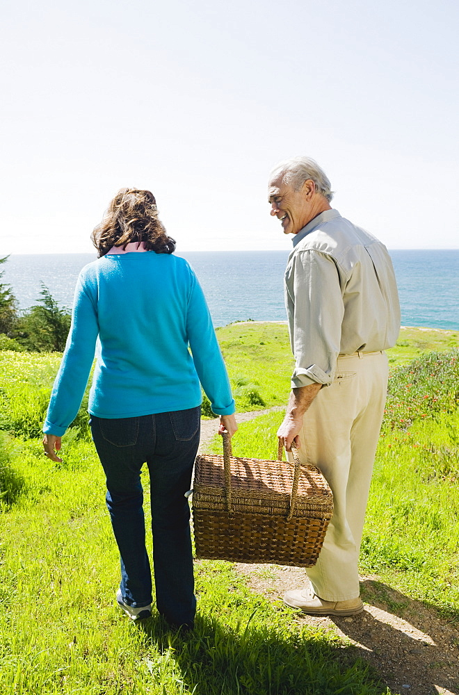 Couple carrying picnic basket to the beach