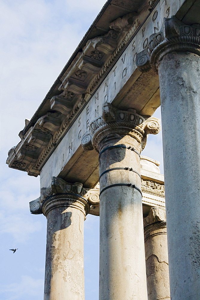 Ionic columns on Temple of Saturnus, Roman Forum, Italy