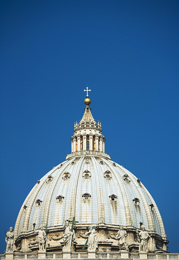 Close up of dome of St. Peter's Basilica, Vatican City, Italy