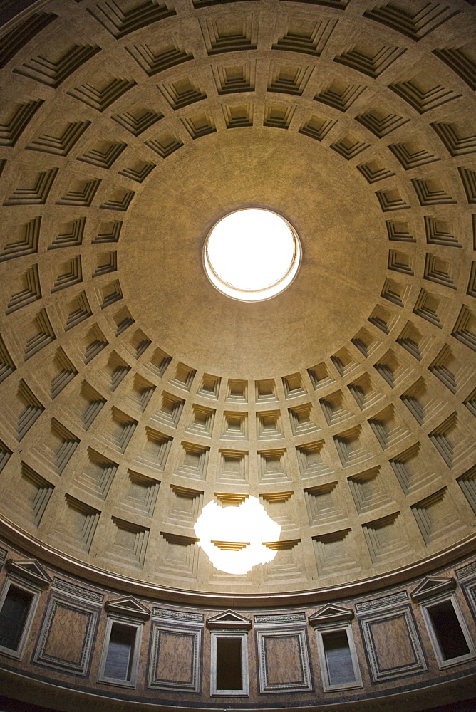 Interior view of the dome in the Pantheon, Italy